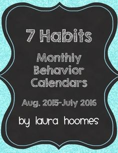 I+have+made+monthly+behavior+calendars+for+your+student's+daily+communication+folders.+Each+month+has+a+code+at+the+bottom+to+correspond+with+the+7+Habits+of+Happy+Kids.+Perfect+for+school+wide+implementation+of+the+7+Habits.+Thank+you+for+looking!!