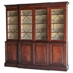 George III Style English Mahogany Breakfront Crossbanded with Rosewood  $15k