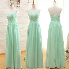 A-line Mint Chiffon Bridesmaid Dresses,Strapless Cheap Long Bridesmaid – SheerGirl