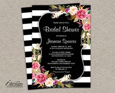 Elegant floral black and white stripe bridal shower invitation. Featuring a botanical design with pink watercolor flowers. Perfect for a striped, botanical or flower themed wedding shower. 50th Birthday Party Invitations, Engagement Party Invitations, Printable Wedding Invitations, Floral Wedding Invitations, Bridal Shower Invitations, Bridal Shower Menu, Elegant Bridal Shower, Bridal Shower Decorations, Baby Shower Invitaciones