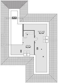 Piwonia - Rzut poddasza Modern Bungalow House, Bungalow House Plans, My House Plans, House Floor Plans, Beautiful House Plans, Beautiful Homes, Single Storey House Plans, Kerala Houses, Building Plans