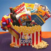 Movie Mania $44.99  Find it in the Snack Basket category of my online store.  You'll find old-time movie going goodness in the Movie Mania gift box! Available with ten dollar  Netflix gift card, your gift will be a hit!  Popcorn Gift Box  2 Movie Theatre Microwave Popcorn,  Movie Trivia Fortune Cookies , Cracker Jacks,  Frito Lay In the Shell Peanuts , Chips Ahoy Cookies and  Twizzlers Red Licorice.
