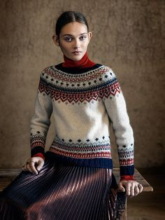 Free and Awesome Crochet Sweater Patterns for This Winter Part 3 ; knitting sweaters for beginners; knitting sweaters for women Nordic Pullover, Nordic Sweater, Sweater Knitting Patterns, Knitting Designs, Knitting Sweaters, Crochet Patterns, Icelandic Sweaters, Fair Isles, Fair Isle Pattern