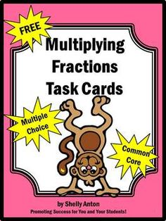 Here's a set of task cards on multiplying fractions. Multiplying Fractions, Multiplication, Dividing Fractions, Equivalent Fractions, 5th Grade Math, Sixth Grade, Math Test, Teaching Math, Maths