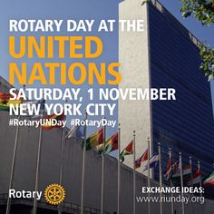 Join us on social media with #RotaryUNDay on 1 November for #RotaryDay at the United Nations as we celebrate working together with the UN and other organizations to increase our humanitarian reach. #Rotary holds the highest consultative status offered to a nongovernmental organization by the UN's Economic and Social Council, which oversees many specialized UN agencies.