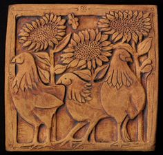 Chickens and sunflower tile Made to order by agapanther on Etsy, Ceramic Wall Art, Ceramic Clay, Tile Art, Ceramic Pottery, Pottery Art, Pottery Sculpture, Sculpture Art, Art Nouveau Tiles, Clay Tiles