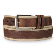 Accessorize in sharp style with this leather belt from Nautica. This handsome belt features a top-stitched genuine leather strap with canvas fabric detail. A single prong buckle closure completes the