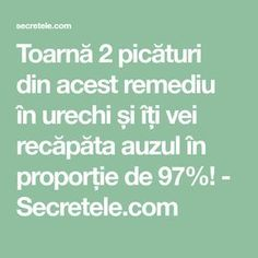 Toarnă 2 picături din acest remediu în urechi și îți vei recăpăta auzul în proporție de 97%! - Secretele.com Arthritis Remedies, Herbal Remedies, Natural Remedies, Gut Health, Health Tips, Health Fitness, Stage 3 Kidney Disease, Metabolism, Good To Know
