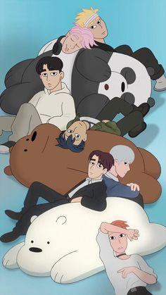 Monsta X and We bare bears Wallpapers Tumblr, Cute Cartoon Wallpapers, Bear Wallpaper, Disney Wallpaper, Kpop Anime, We Bare Bears Wallpapers, Young K, We Bear, Monsta X Wonho