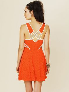 7002edf78e Free People Sunny Side Eyelet Fit and Flare Dress in Orange (sunrise) - Lyst
