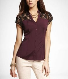 SHORT SLEEVE LACE TRIMMED SHIRT at Express