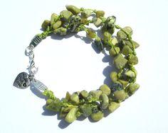 Green Bead Bracelet  Yellow Jade  Boho Bracelet  by PinkBeading, £12.00