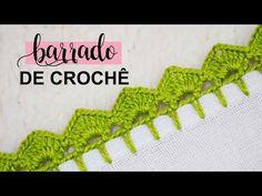 BARRADO DE CROCHÊ CARREIRA FÁCIL PARA INICIANTE | PASSO A PASSO - YouTube Crochet Border Patterns, Crochet Lace Edging, Crochet Flower Tutorial, Easy Crochet, Crochet Flowers, Knitting Patterns, Filet Crochet, Hand Embroidery Stitches, Crochet Stitches