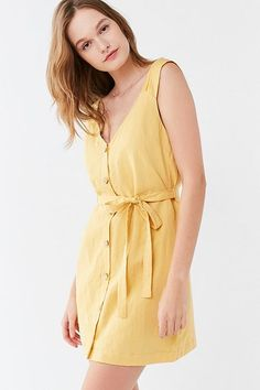 UO Button-Front Linen Mini Dress