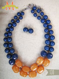Orange and Navy Statement Necklace and Earrings by millymandarin, $30.00