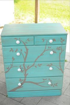 turquoise painted dresser- with metallic silver painted tree stencil