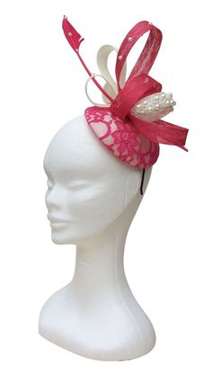 pink and cream fascinator pearl fascinator pink by Embellishmoime