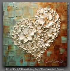 ORIGINAL Contemporary gallery fine art by Susanna Shap- modern palette knife thick impasto texture abstract white floral heart and key painting filled with blossoms - To see closeups please click on above images.    Be Mine    Artwork description:  -Size: 24x24  -1.7 deep gallery back wrapped stretched canvas, black painted edges, ready to hang.  -Medium: Mixed Media oil and acrylic  Dominant Colors: grey, aqua blue, beige, rust brown, white, gold  -Signed and dated on the front and back by…