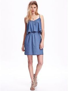 Chambray Overlay Dress | Old Navy