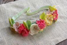 Felt Flower Crown // Coral Yellow  White // by fancyfreefinery, $20.00
