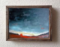 Red Sunset  Original Oil Painting  Abstract Painting  by VESNAsART