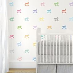 33 Sorbet Multi-color Rocking Horse Wall Decals