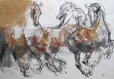 The brilliance of Jean-Louis Sauvat. The raw nature reminds me of some of Da Vinci's work, but at the same time early cave drawings. Horse Drawings, Animal Drawings, Art Drawings, Painted Horses, Horse Sketch, Horse Artwork, Horse Portrait, Indigenous Art, Equine Art