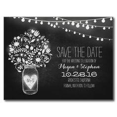 Mason jar & string lights chalkboard save the date postcard