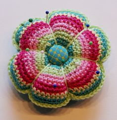 African Flower crocheted pin cushion
