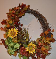 Fall Wreath, Harvest Wreath, Autumn Wreath, Door Wreath, Front Door Wreath,  Birdnest Wreath, Sunflower  Wreath by TheBloomingWreath on Etsy Wreaths For Front Door, Door Wreaths, Grapevine Wreath, Sunflower Wreaths, Autumn Wreaths, Fall Season, Grape Vines, Earthy, Greenery