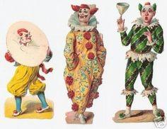 3 Victorian Scraps Colorful Circus Clown Die Cuts 1880s (10/20/2007)