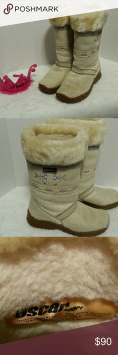 Beautiful SKI WINTER GOAT FUR BOOTS size 10 Please read these boots are beautiful and very clean not new but you can't tell.except in pic. 4 a small spot on the suede part other than that these are a gorgeous pair of Italian hand made boots. Great for the cold snowy days. Fur upper and man made soles. Italian wool liner/ Natural goat fur. Oscar Sport Shoes Winter & Rain Boots