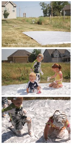 Shaving Cream Slip-n-Slide. Super fun summer activity for kids! HandmadeintheHeartland.com
