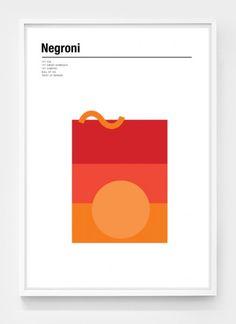 Negroni minimalist cocktail poster