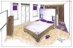 Slaapkamer met kastenwand en kleedgedeelte achter het bed