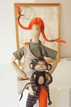 Купить Кукла Тильда Повтор Пеппи Длинныйчулок и обезьянка - кукла, кукла ручной работы ♡
