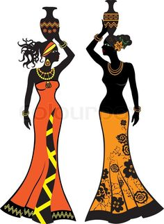 Stock vector ✓ 16 M images ✓ High quality images for web & print   Beautiful African woman with vases,  two versions