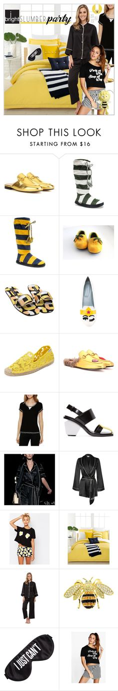"""""""Sleep on It! Slumber Party Style"""" by yours-styling-best-friend ❤ liked on Polyvore featuring Gucci, Muk Luks, Chiara Ferragni, Soludos, Kensie, Marni, Agent Provocateur, ASOS, Lacoste and N Natori"""