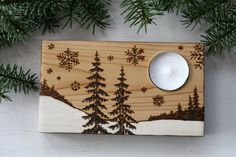 Looking for a wonderful holiday gift? These tea light candle holders are made of salvaged cedar wood. Each one has been cut and drilled, sanded Wood Burning Crafts, Wood Burning Patterns, Wood Burning Art, Wood Crafts, Diy And Crafts, Rustic Candle Holders, Candle Holder Decor, Wooden Gifts, Wooden Art