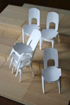LOSSLESS CHAIRS by Yoshinobu Miyamoto Furniture Design with Paper, 1:10 prototype