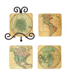 Square Resin Map Coasters W/ Metal Easel 5 Piece Set Vintage Stone Look Country Home Decor