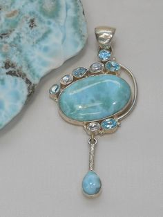 Larimar Pendant 13 with Blue Topaz and White Topaz