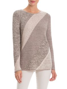 Entering the neutral zone can be fun too! Lightweight and textural, the Neutral Zone Sweater features diagonal stripes in beautiful neutral hues. Pair this lightweight sweater back to the Ash, Powder and Grey Denim Foundation colors.