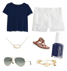 Scalops by lillypulitzera on Polyvore featuring polyvore, fashion, style, MANGO, J.Crew, Tory Burch, Kendra Scott, Bourbon and Boweties, Ray-Ban, Essie and clothing