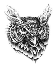 Ornate Owl Head by *BioWorkZ on deviantART