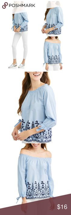 🌹NWT Blue Embroidered Scalloped Top Shirt 🌹I'm currently running an additional sale. See listing at the top of my closet for details.🌹  PRICE FIRM UNLESS BUNDLED!  This is new w/tags. It's absolutely beautiful! It's light blue w/beautiful, navy embroidery. It can be worn on or off the shoulders. The sleeves are 3/4 length & have cute bows! It's a L and would best fit sizes 10-12 in my opinion.   *I'll get pics of the actual top asap. **I may can get in other sizes. Just ask. Time and Tru…
