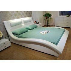 Greatime Wave-like Shape Upholstered Modern Platform Bed, California King, White Bedroom Bed Design, Bedroom Furniture Design, Bed Furniture, Modern Bedroom, Bedroom Decor, Furniture Storage, Furniture Layout, Furniture Outlet, White Furniture