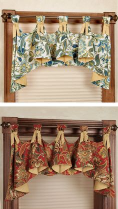 austrian valance - maybe. if I decide to do window treatments. just the style, not the fabric. can't figure out what shapes I'd need to cut to make these.....