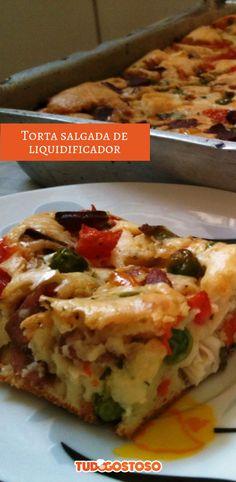 Torta Salgada do Liquidificador - receitas - I Love Food, Good Food, Yummy Food, Pizza And More, Vegetarian Recipes, Healthy Recipes, Flatbread Pizza, Portuguese Recipes, Bread Baking