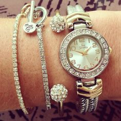 Two-tone Tuesday! A lot of silver with a touch of gold and rhinestone accents blend together to form the perfect look in this delicate watch. Trying adding layers to make the ultimate wrist statement! (W-010009 $32; B-012412 $18; B-012411 $18; B-010018 $24) #justjewelry #fashionjewelry #fashionbracelets #fashionaccessories #twotonejewelry #pavebracelets #stretchbracelets #armparty #armcandy #stackedwrist #watches #fashionwatch #twotonewatch